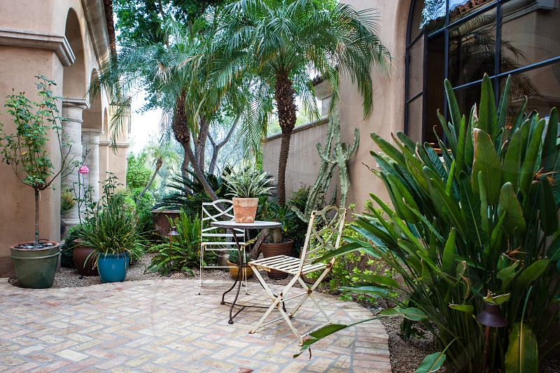 Outside patio oasis in the desert. photo