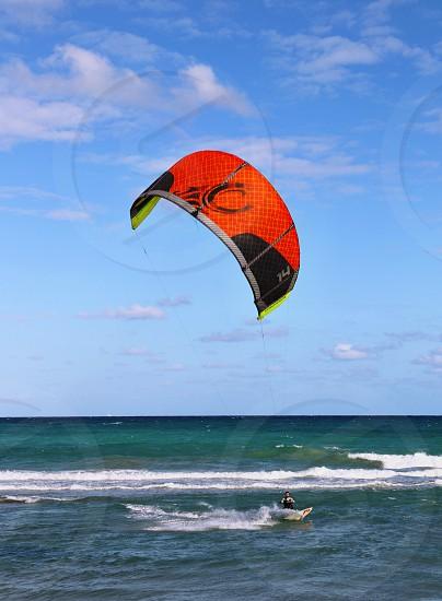 Windsurfing surfer surfing Miami Florida kite surfing kite man ocean water Beach photo