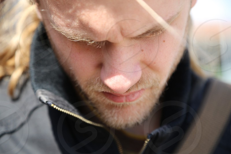Face man concentration concentrate thinking  photo
