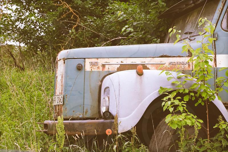 Vintage  car light front abandoned  light photo