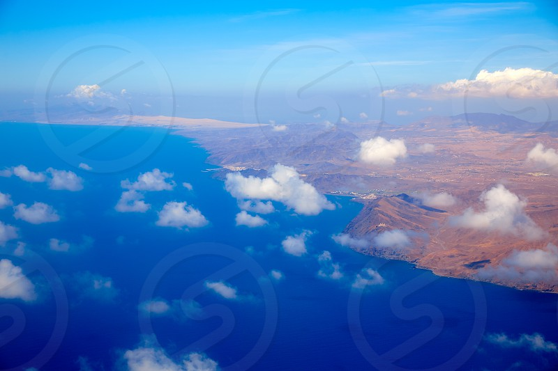 Aerial view of Fuerteventura island at Canary Islands of Spain photo