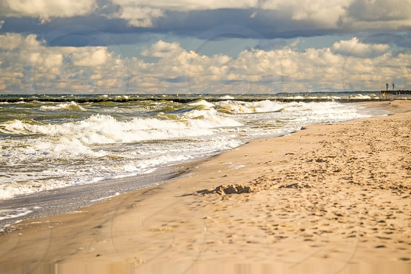 beach of Ustka Baltic Sea Poland photo