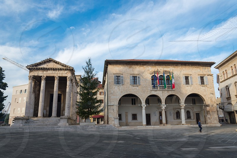Scenery in front of Temple of Augustus in Pula Croatia photo