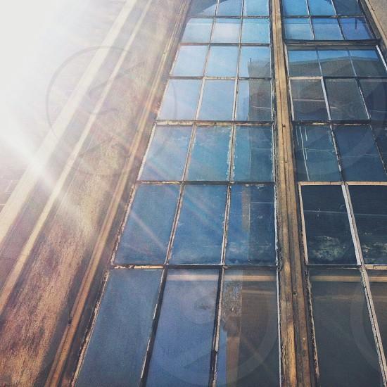 Antique wood framed multi window photo