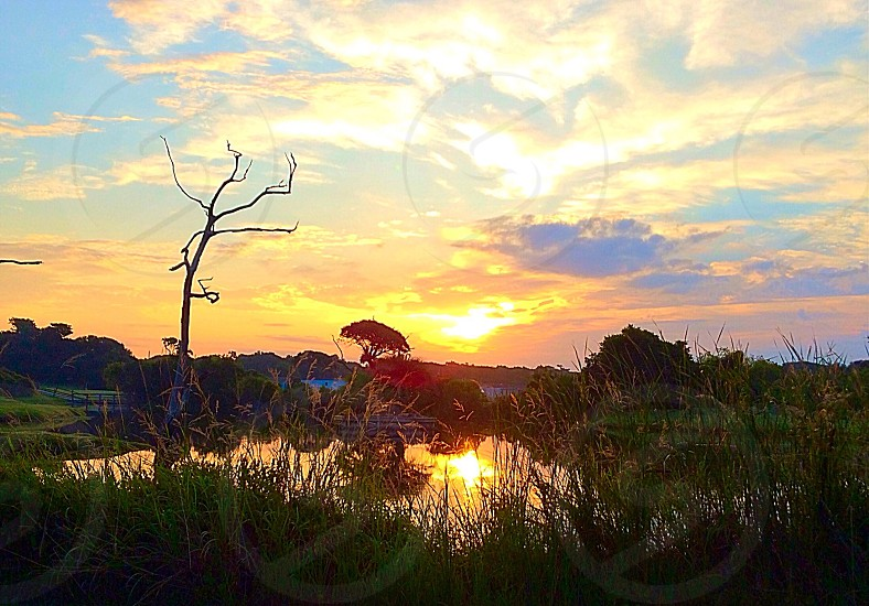 Sunrise over golf course in Pine Knoll Shores NC photo