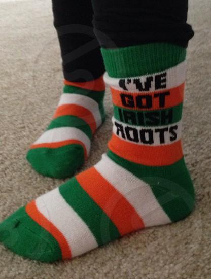 """""""I've got Irish roots"""" St Patricks day children's socks photo"""