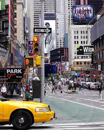 NYC street corner theater district. photo