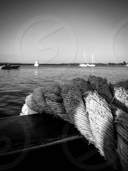 St. Lawrence River Cape Vincent NY. Boat rope.  photo