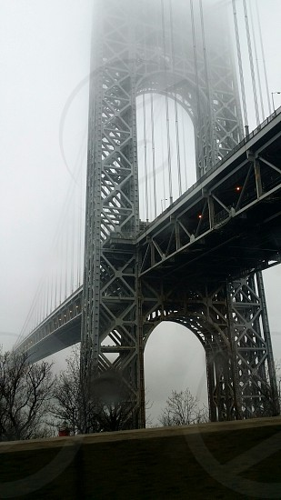george washington bridge new york city in the foggy morning photo
