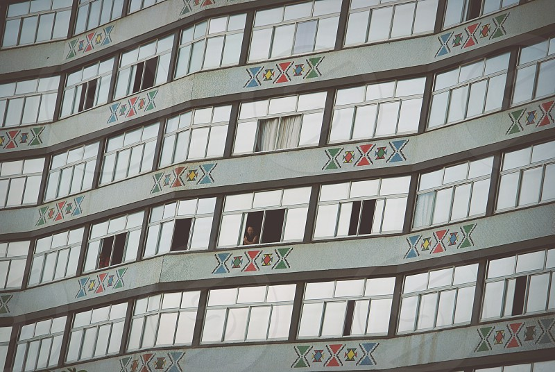 Apartments high-rise flats South Africa Durban geometric design. photo