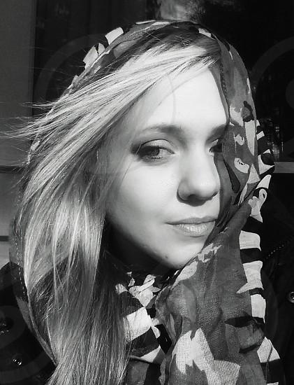 Black and white portrait woman scarf photo
