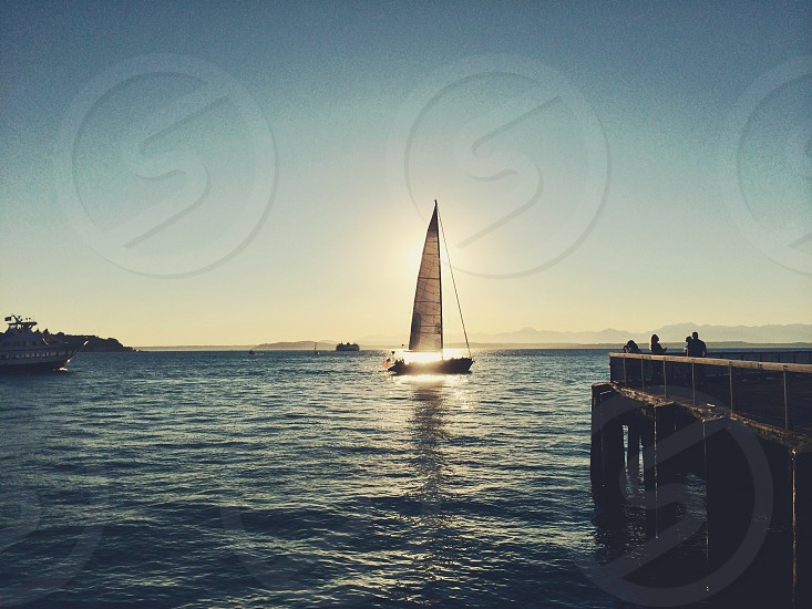 boat with white sail on the water photo