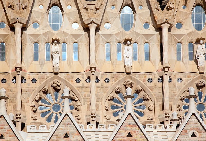 Barcelona Sagrada Familia cathedral by Gaudi architect facade details photo