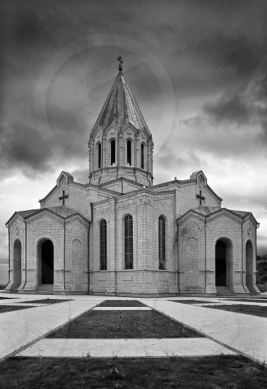 Armenia Nagorno Karabakh church monastery St Ghazanchetsots Cathedral Christ the Savior black and white b&w cross clouds ancient architecture arc windows alley photo
