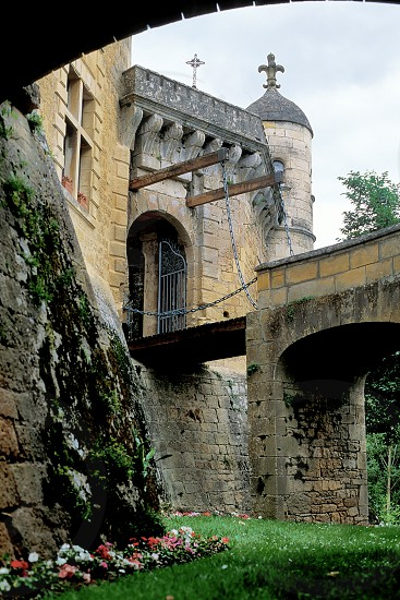 The drawbridge at Chateau de Fayrac on the Dordogne River in France. photo