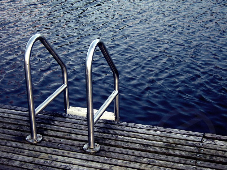 silver swimming pool ladder photo
