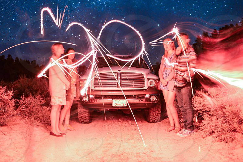 road trip travel astrophotography stars friends light painting truck american  photo