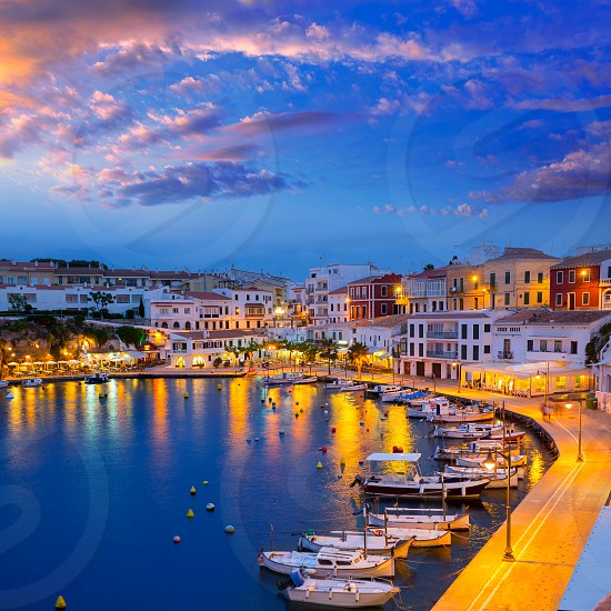 Calasfonts Cales Fonts Port sunset in Mahon at Balearic islands photo