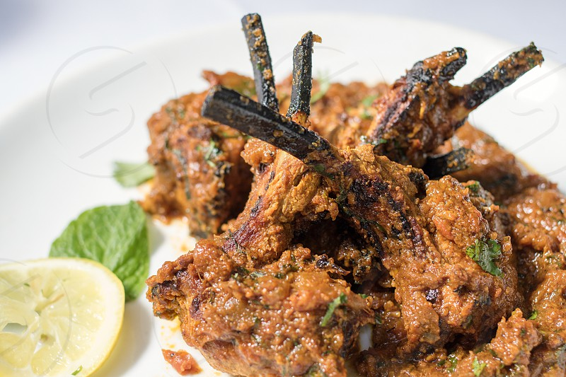 pork ribs with brown sauce photo