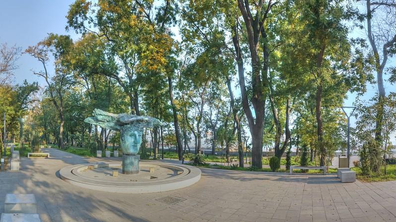 Odessa Ukraine - 09.11.2018. Golden autumn morning on Primorsky Boulevard in Odessa Ukraine. HDR panoramic view photo