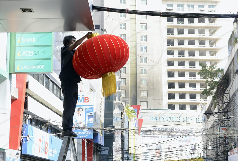 make dekoration for the chinese new year in the city centre at  Pratunam in the city of Bangkok in Thailand in Southeastasia. photo