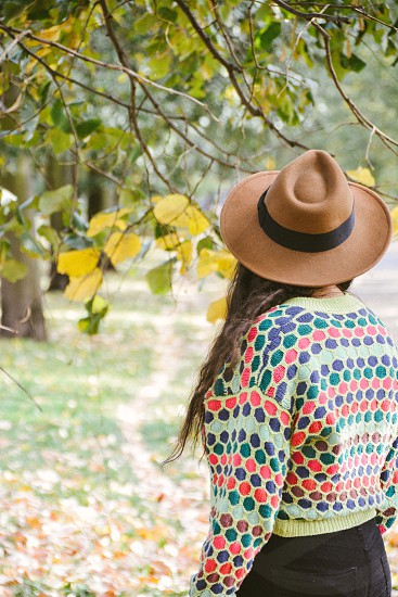 Girl autumn back hat colorful photo