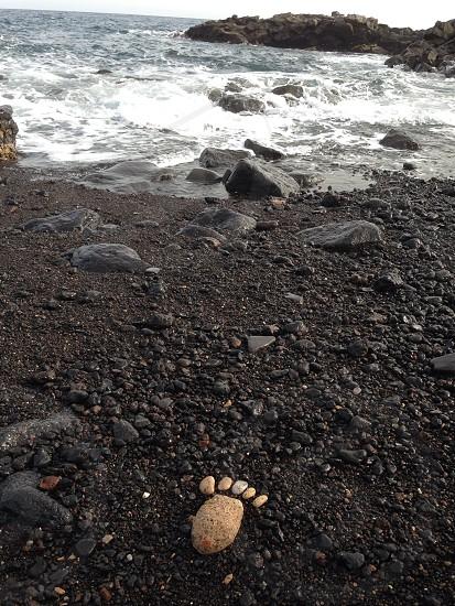 brown footprint near water photo