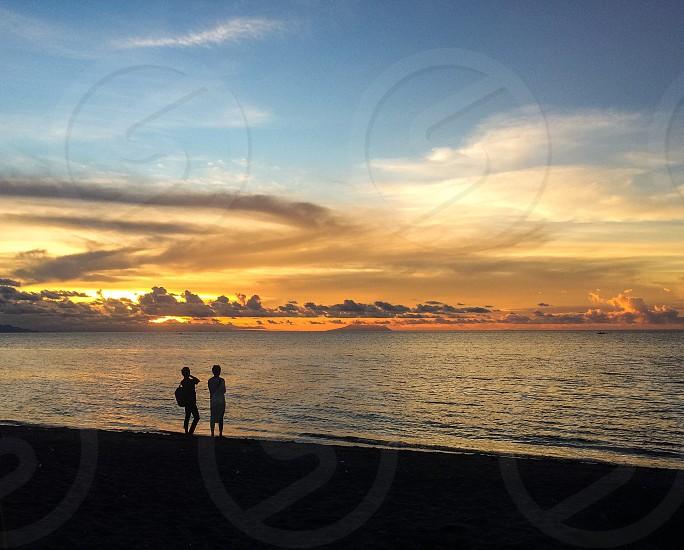 Beautiful sunset / sunrise over the ocean /beach in Lovina Bali Indonesia. Land of the God's.  photo