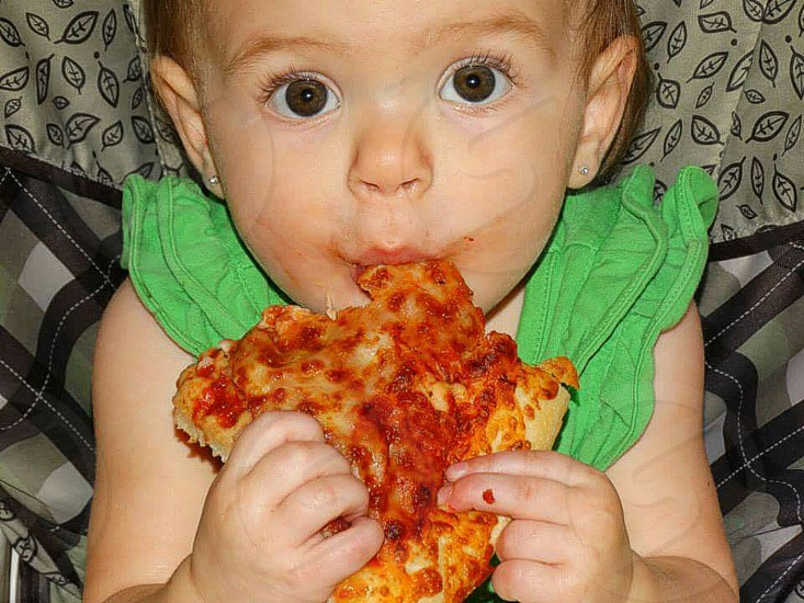 babies love pizza!! photo