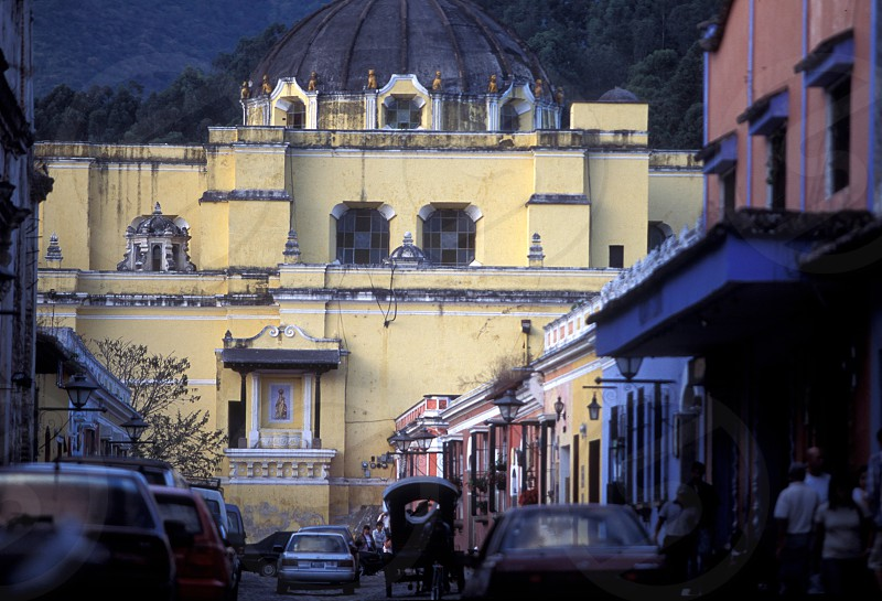 the church senora de la nerced in the old town in the city of Antigua in Guatemala in central America.    photo
