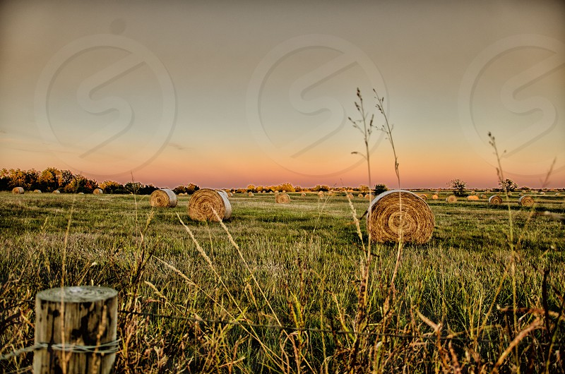Hay Field Bales Dusk Fence Sunset Rural Country photo