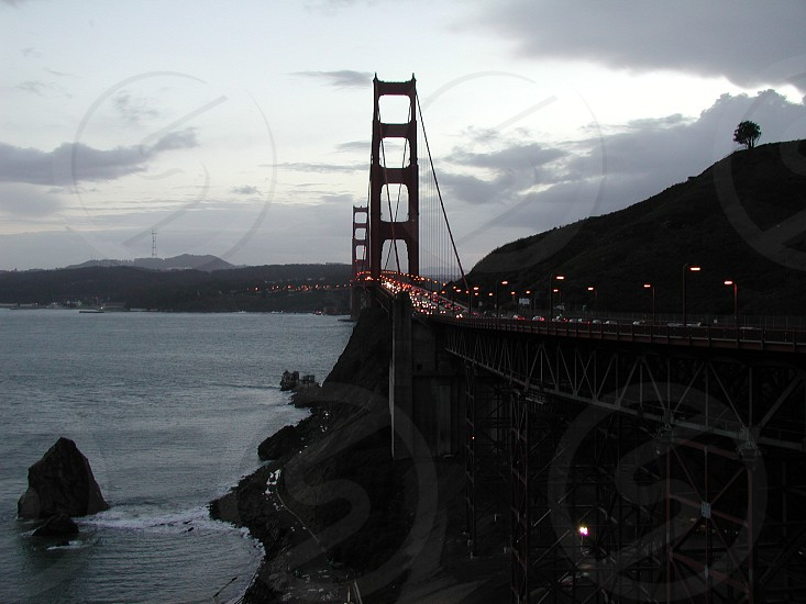 Golden Gate Bridge at Dusk looking from Marin County. photo