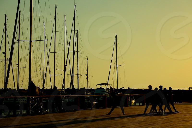women doing sport at Tel Aviv Port photo