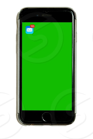 Smart phone in protective case with green chroma key touchscreen mail icon with 180 emails isolated on white background cell mobile phone adaptable for mockups and design large resolution photo