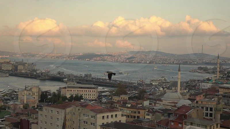 Aerial view of Istanbul city Turkey Bosphorus strait with marine traffic and Galata Bridge on a background cloudy sky day time sunny weather. Slow motion Full HD video 240fps 1080p. photo