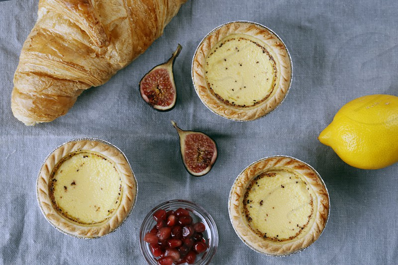 Croissand and Egg Custard Tarts. photo