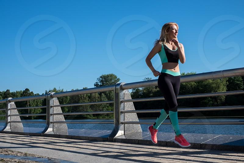 woman training outdoors photo