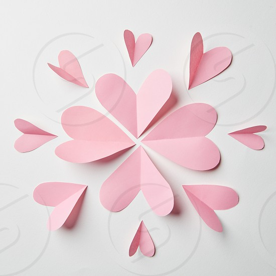 paper hearts in the form of a flower on a white background photo
