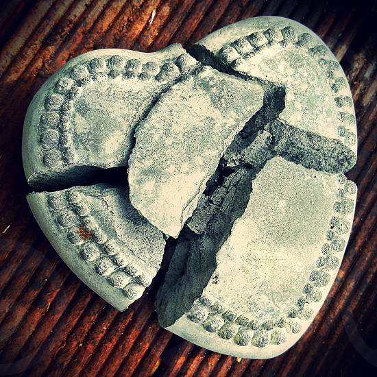 Broken heart ornament shattered photo