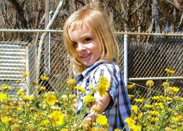 child with blond hair walking through flower photo