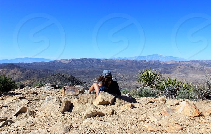 Hiking hike climb Joshua tree California view landscape girl woman adventure mountain desert Sky  photo