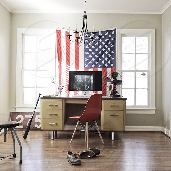 usa flag in front of desk photo