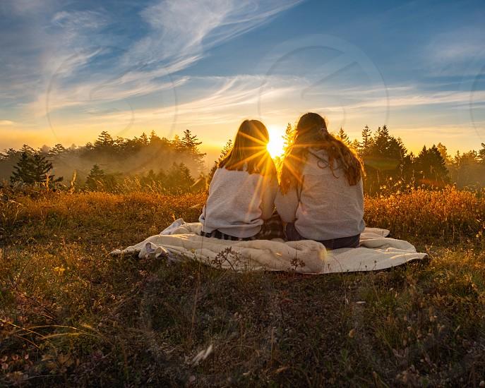 Friends girls sunset nature photo