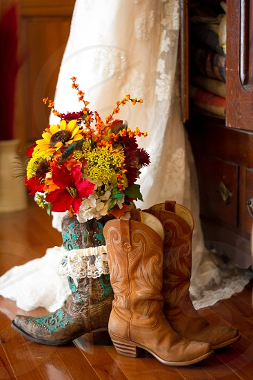 wedding dress wedding bouquet flowers fall boots his hers rustic country dress photo