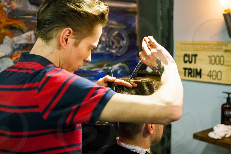 Barber haircat trim service barbershop hairdress  photo