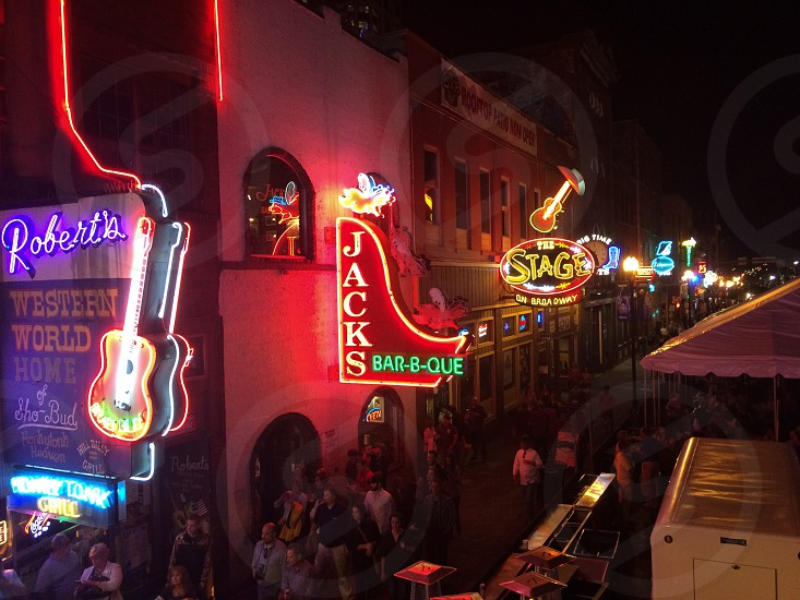 Nashville Broadway Downtown Nashville neon Music City fall nights bars nighttime night life photo