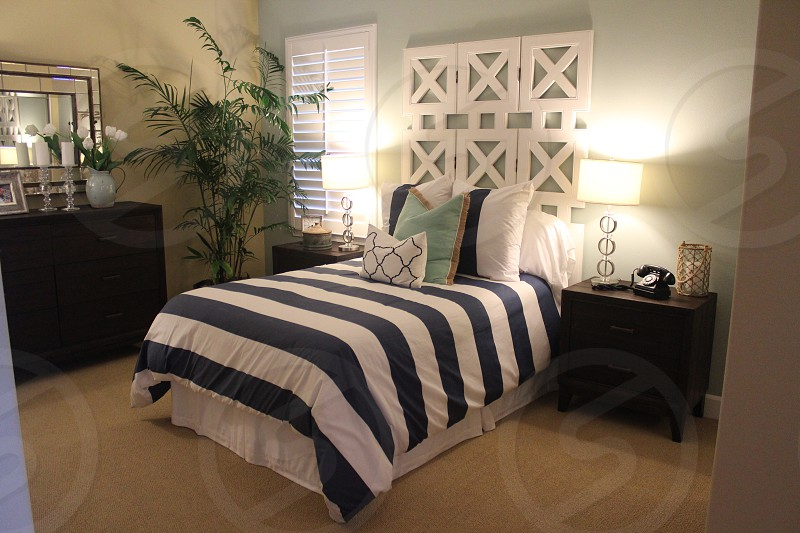 Luxury bedroom new home in San Diego photo