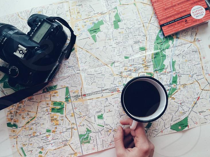 Camera trip travel adventure map coffee photo