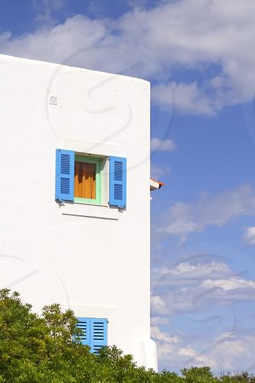 architecture balearic islands Formentera white houses blue windows photo