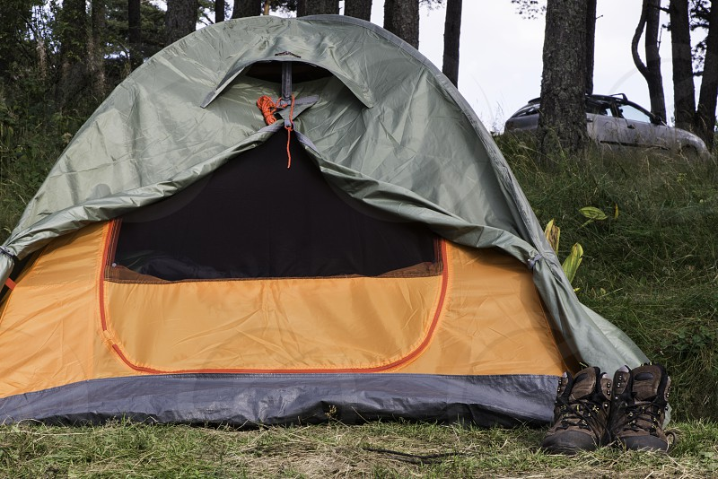 Two tents in forest.  photo